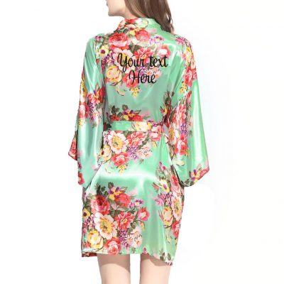 Personalized Floral Satin Bride Robe - Embroidered