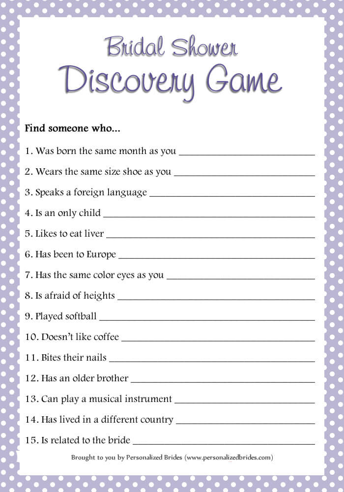 Bridal Shower Discovery Game - Polka Dots