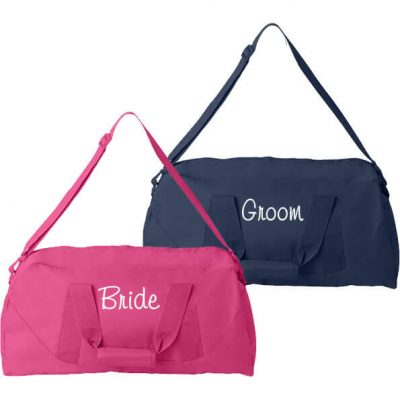 Personalized Bride and Groom Duffle Bag Set