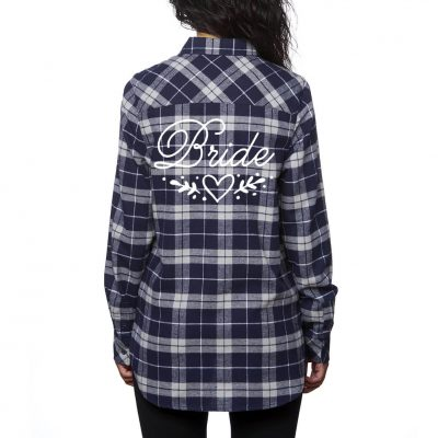 Bride Flannel Shirt with Heart Laurel