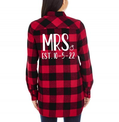 """Mrs."" Flannel Shirt with Date"