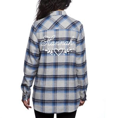 Flannel Shirt with Name & Heart Laurel