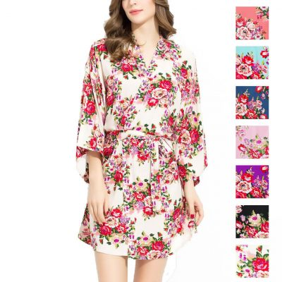 Silky Cotton Floral Robe - Blank