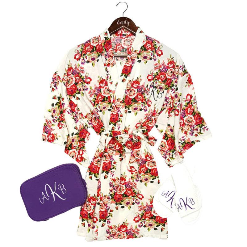 Monogrammed Silky Cotton Floral Robe Set