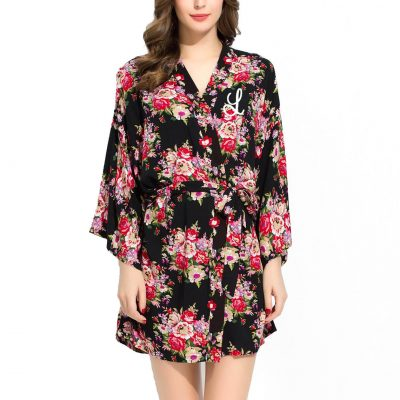 Embroidered Silky Cotton Floral Robe with Initial