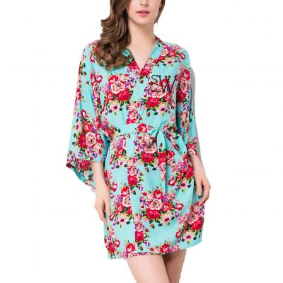 Embroidered Silky Cotton Floral Robe with Modern Monogram