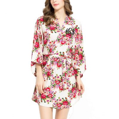 Monogrammed Silky Cotton Floral Robe