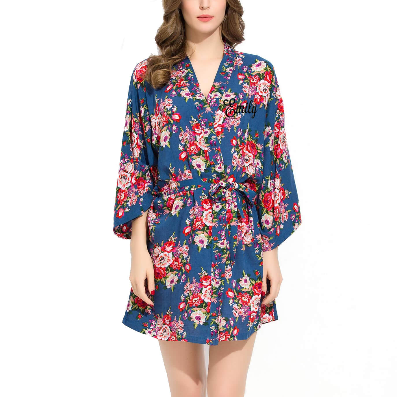 embroidered silky cotton floral robe with name