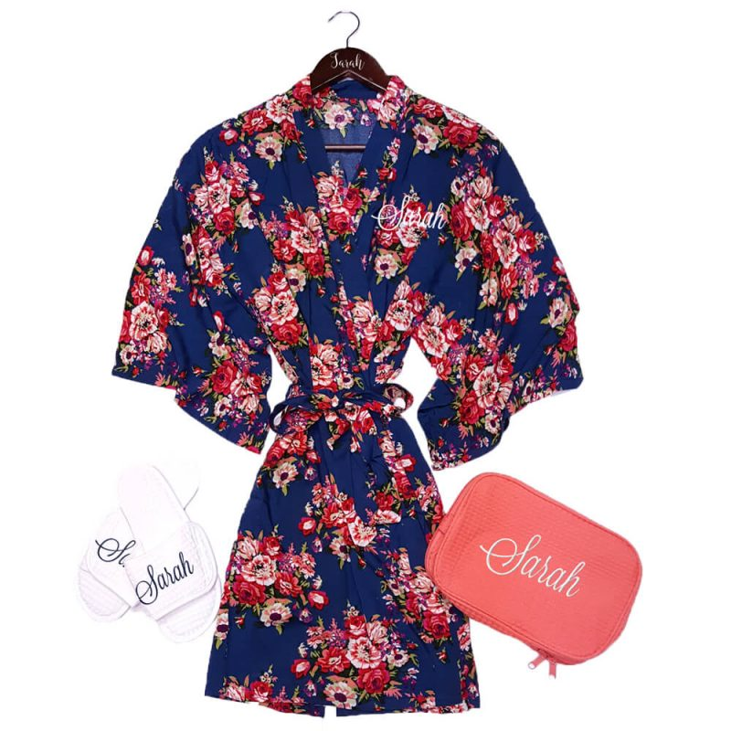Silky Cotton Floral Robe Set with Name