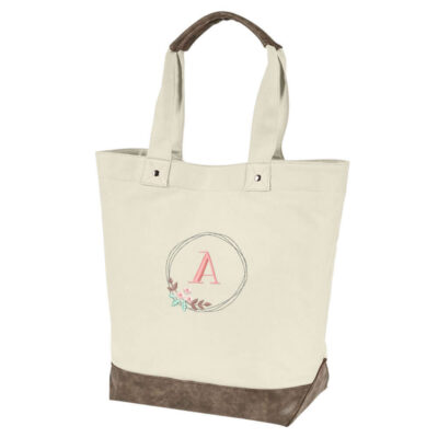 Resort Tote with Floral Wreath Monogram