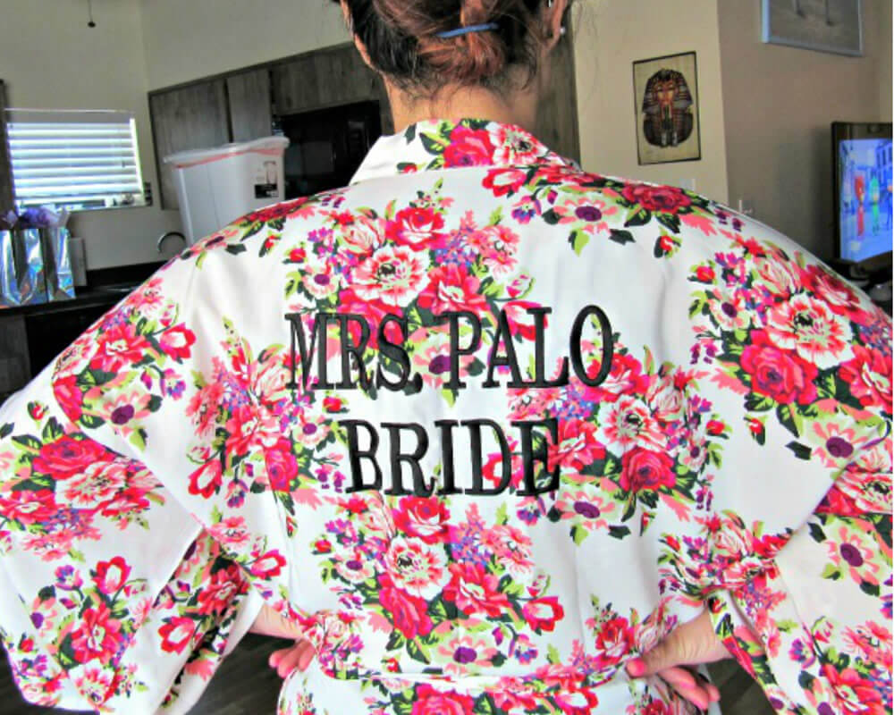 Embroidered Floral Bride Robe