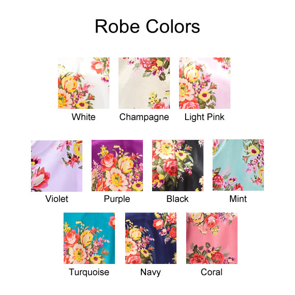 Floral Satin Robe Colors