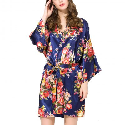 Floral Satin Robe with Embroidered Initial