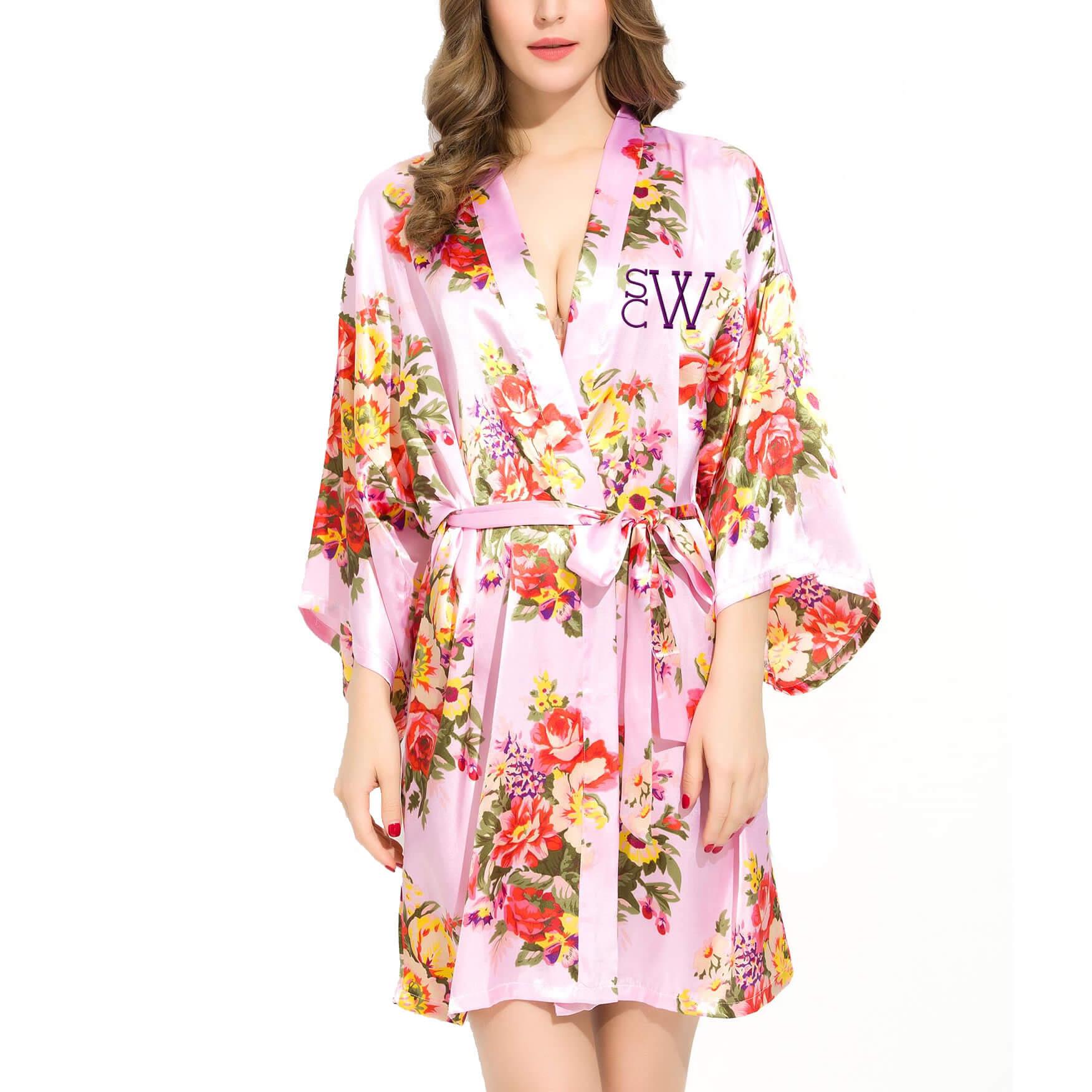 floral satin robe with modern monogram embroidered. Black Bedroom Furniture Sets. Home Design Ideas