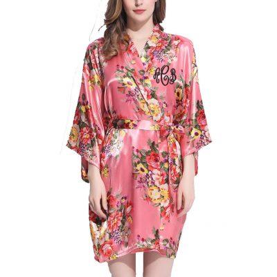 Monogrammed Floral Satin Robe