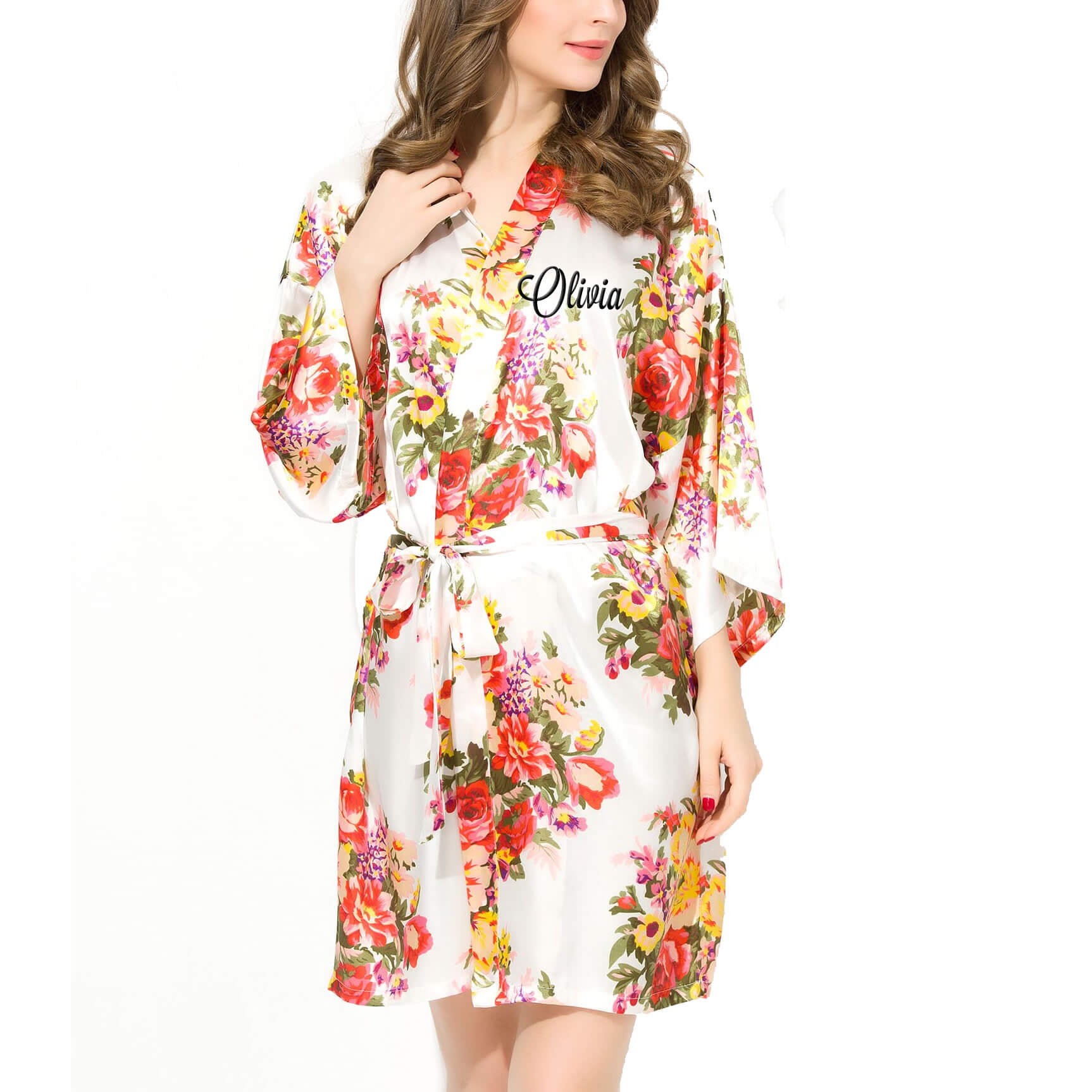 floral satin robe with embroidered name