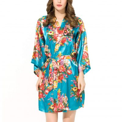 Floral Satin Robe with Name