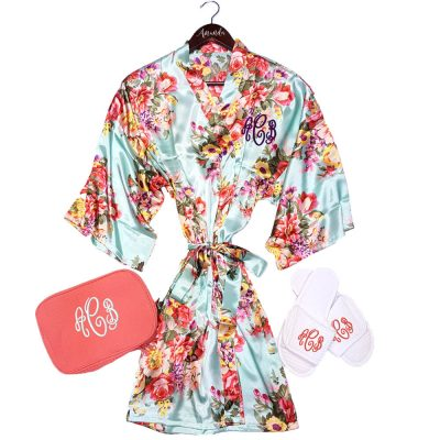 Monogrammed Floral Satin Robe Set