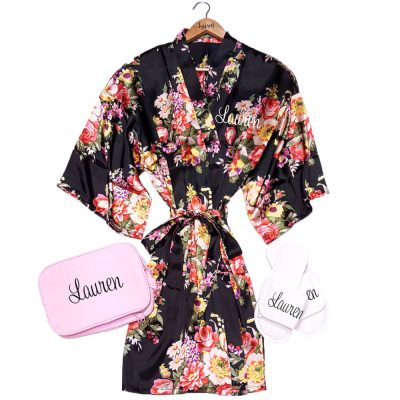 Floral Satin Robe Set with Name