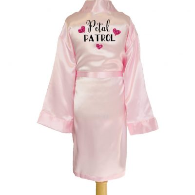 """Petal Patrol"" Kid's Satin Robe with Hearts"