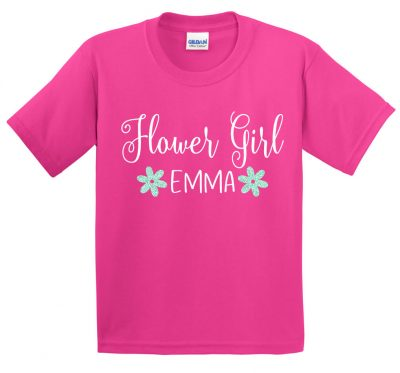 Flower Girl Glitter Shirt with Name