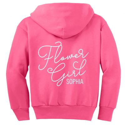 Flower Girl Zip Hoodie with Name