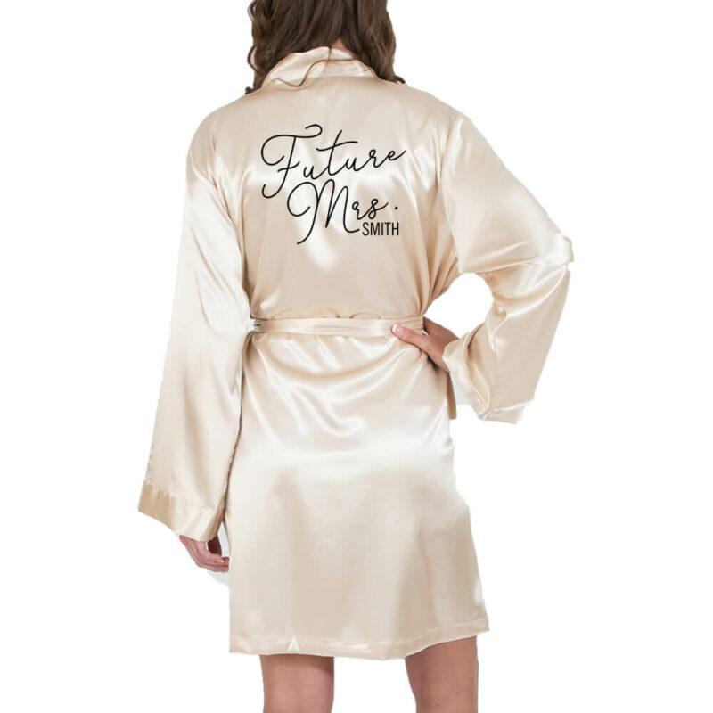 """Future Mrs."" Satin Robe with Name"