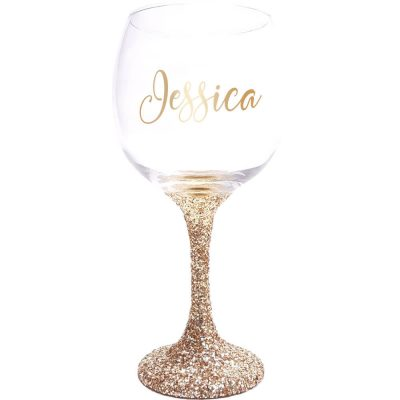 Glitter Wine Glass with Name