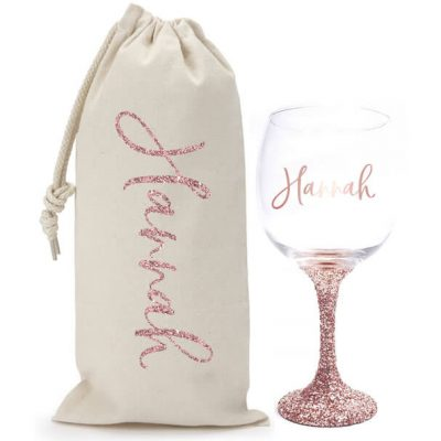 Glitter Wine Glass & Wine Bag Set with Name