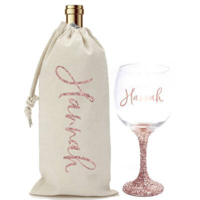 Glitter Wine Glass & Wine Bag Set with Name