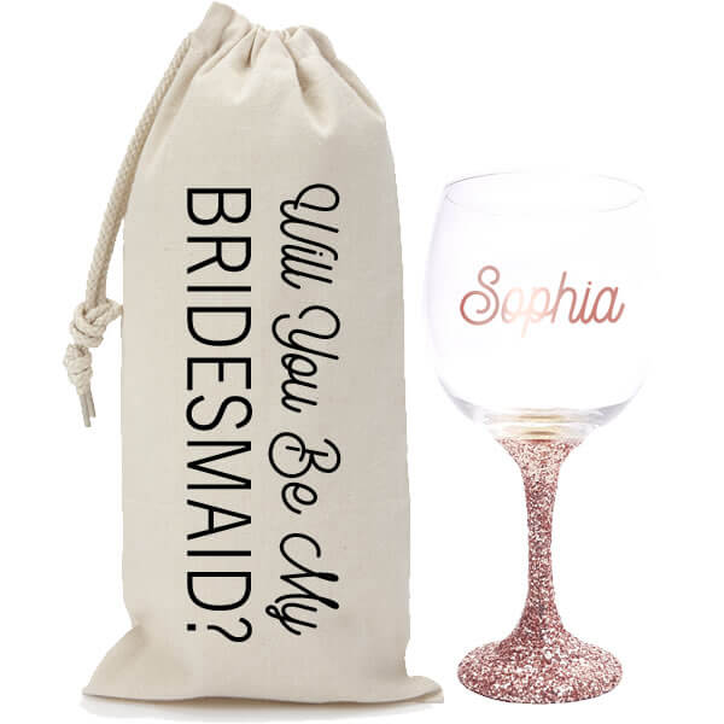 """Will You Be My Bridesmaid?"" Glitter Wine Glass & Wine Bag Set"