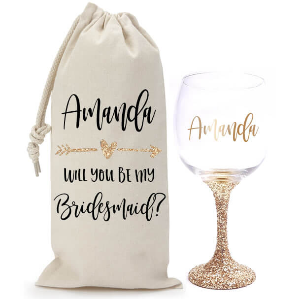 """""""Will You Be My Bridesmaid?"""" Glitter Wine Glass & Wine Bag Set with Arrow"""