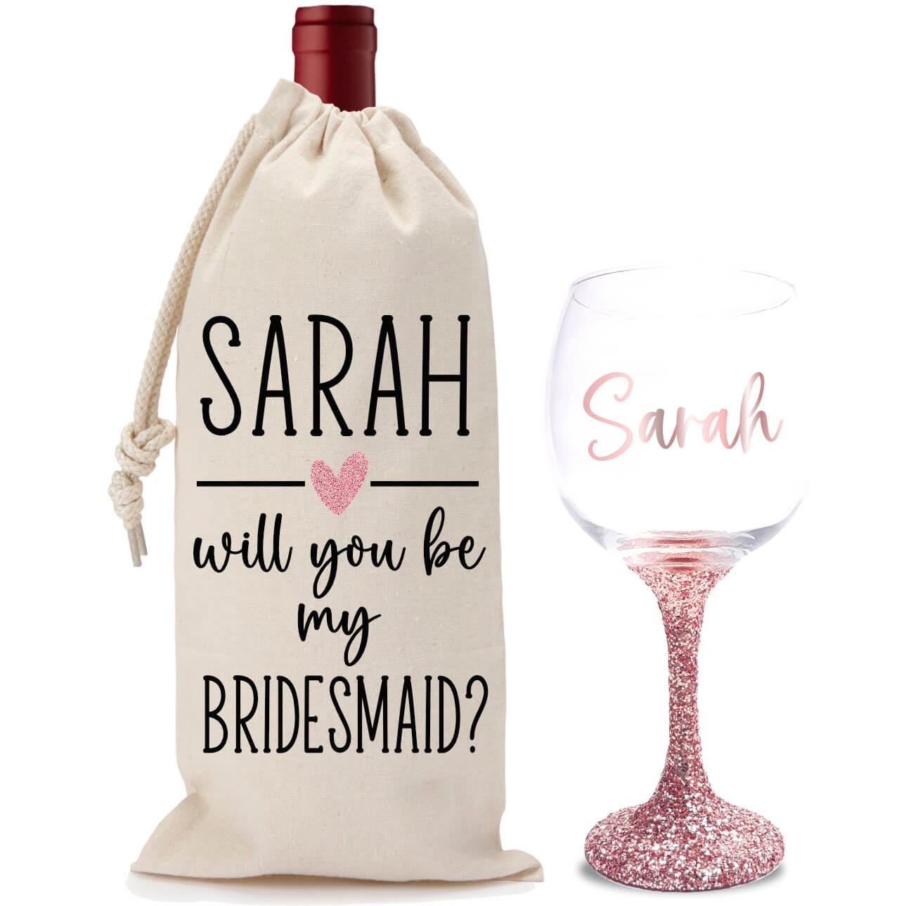 wine not be my bridesmaid glitter wine glass wine bag set