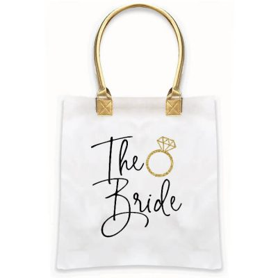 """Bride to Be"" Gold Handle Tote Bag"