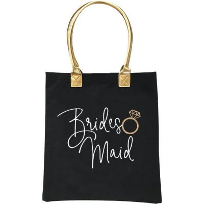 Bridal Party Tote Bag with Gold Handle