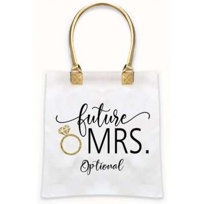 """Future Mrs."" Gold Handle Tote Bag"
