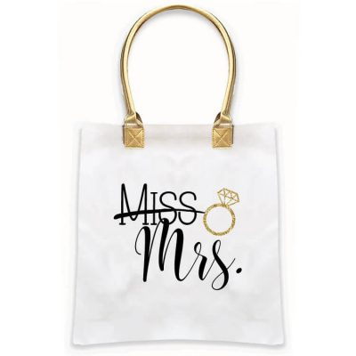 """Miss"" to ""Mrs."" Gold Handle Tote Bag"
