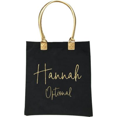 Gold Handle Bridal Party Tote Bag with Name