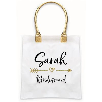 Gold Handle Bridal Party Tote Bag with Arrow