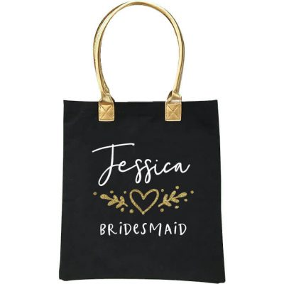 Gold Handle Bridal Party Tote Bag with Heart Laurel