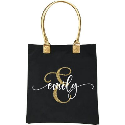 Gold Handle Bridal Party Tote Bag with Name & Initial