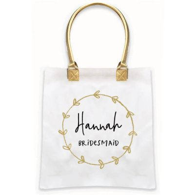 Gold Handle Bridal Party Tote Bag with Wreath