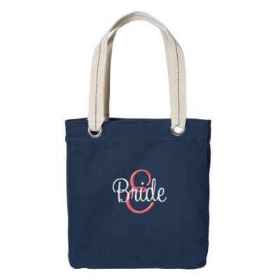 Personalized Grommet Bride Tote Bag with Initial