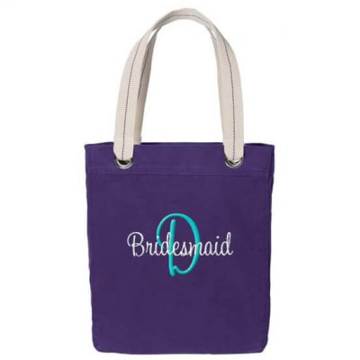 Personalized Grommet Bridesmaid Tote Bag with Initial