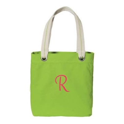 Personalized Grommet Bridal Party Tote Bag with Initial