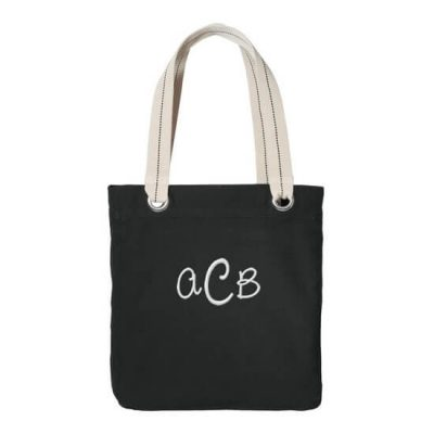 Personalized Grommet Bridal Party Tote Bag with Monogram