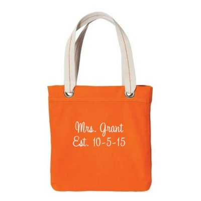 "Personalized ""Mrs."" Grommet Bride Tote Bag with Wedding Date"