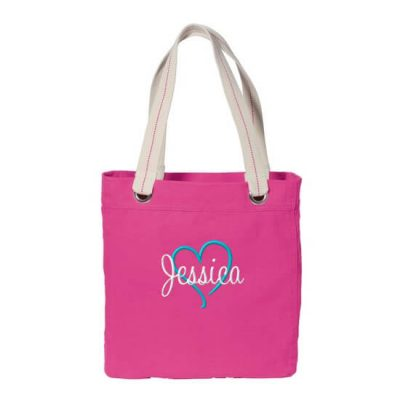 Personalized Grommet Bridal Party Tote Bag with Name & Heart