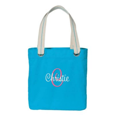 Personalized Grommet Bridal Party Tote Bag with Name & Initial