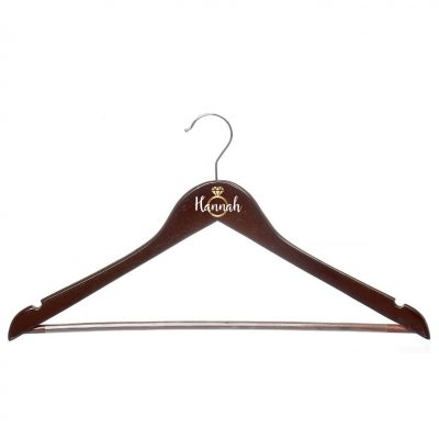 Wood Hanger with Name & Ring - Cherry